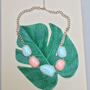 Jewelry - NWOT Peach and Blue Stone Statement Necklace